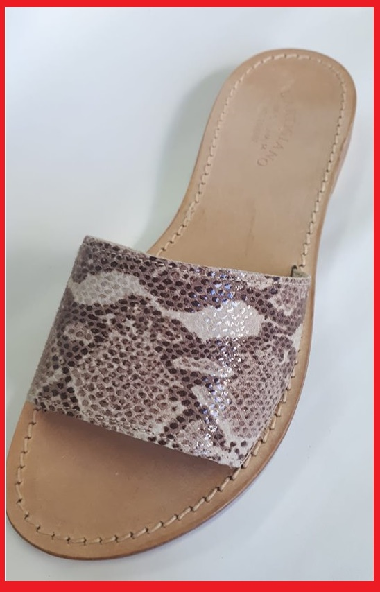 n-80- Brown and beige reptile printed band sandals
