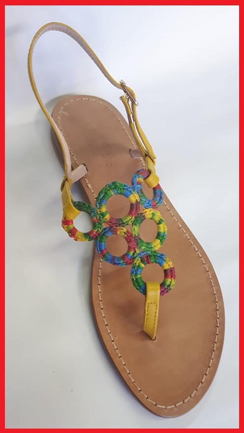 n-83- Sandals Handmade crochet circles - Rainbow